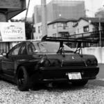 住宅街【傘、通路の階段、スクーター、GTR】with Planar C100mm F3.5 T*