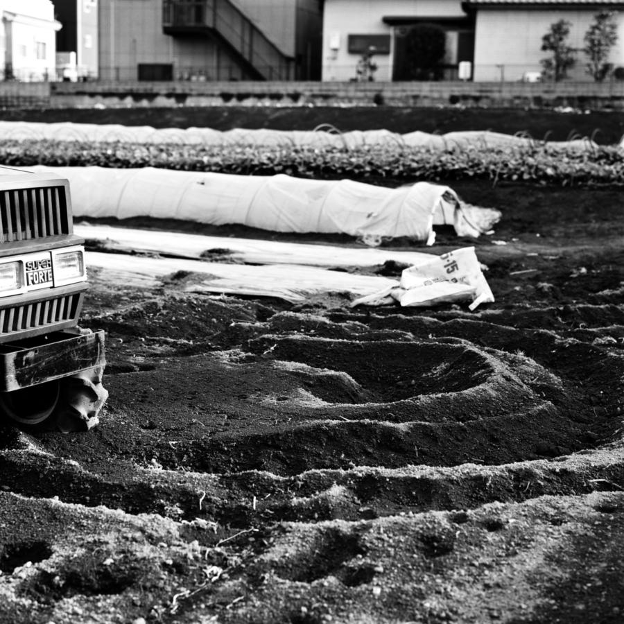 トラクターのタイヤ痕